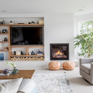 Example Of A Trendy Carpeted And Gray Floor Family Room Design In Other  With White Walls