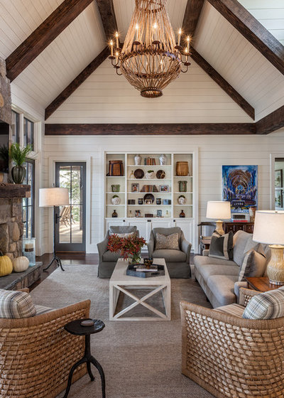 Farmhouse Family Room by Wright Design