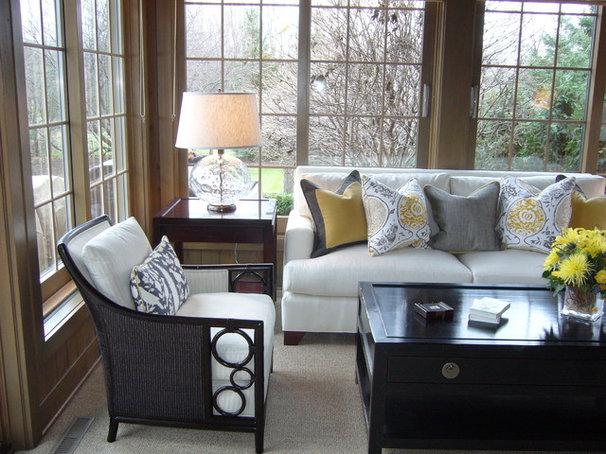 Transitional Family Room by Martha O'Hara Interiors