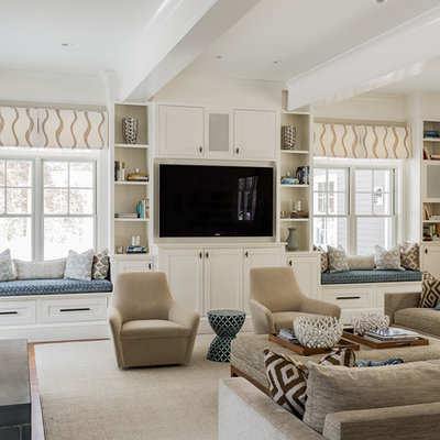 Inspiration for a large transitional open concept light wood floor and beige floor family room library remodel in Boston with a media wall, beige walls and no fireplace