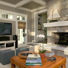 transitional family room by Visbeen Architects