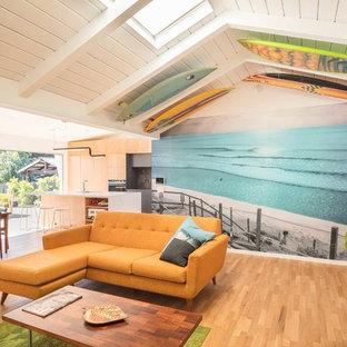 フェニックスのビーチスタイルのおしゃれなファミリールーム (マルチカラーの壁、無垢フローリング) の写真