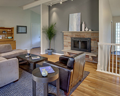 Modern Open Concept Family Room Idea In Seattle With Gray Walls Medium Tone Wood Floors