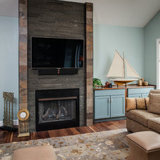 Transitional Family Room by Sara Busby Design