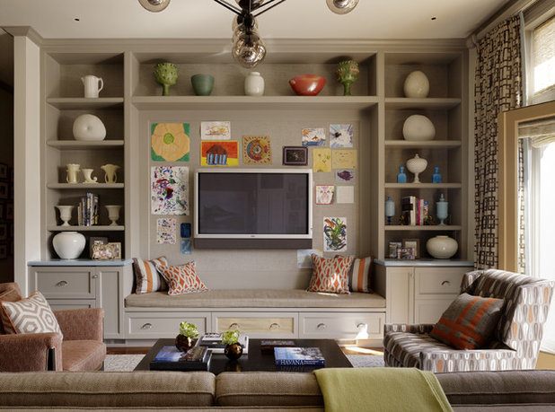 Transitional Family Room by JayJeffers