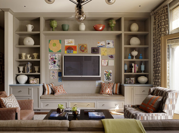 Transitional Family Room by Jeffers Design Group