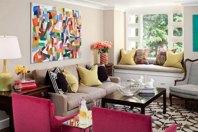 Eclectic Family Room by Tamara Mack Design