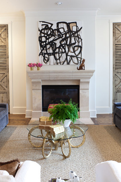 Transitional Family Room by Sally Wheat Interiors
