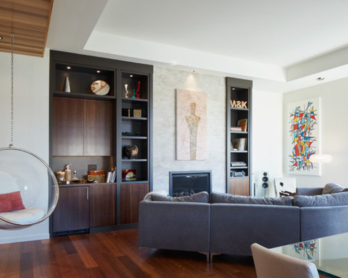 Trendy Open Concept Dark Wood Floor Family Room Photo In Portland With  White Walls And A Part 48