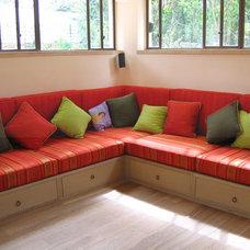 Mediterranean Family Room by Davidie Rozin Architects