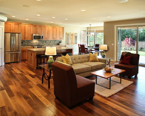 Open floor plan home design ideas pictures remodel and decor for Hardwood floor plans