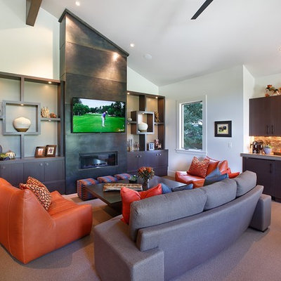 Family room - mid-sized contemporary open concept carpeted and brown floor family room idea in Salt Lake City with a ribbon fireplace, a metal fireplace, a media wall and white walls