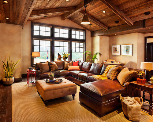 Charming Inspiration For An Expansive Rustic Enclosed Family Room Remodel In  Portland With Beige Walls And Dark