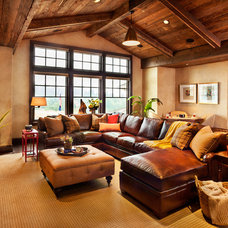 Rustic Family Room by Westlake Development Group, LLc