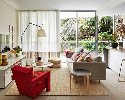 Mid Sized Contemporary Open Concept Family Room Idea In Sydney With Carpet A Wall