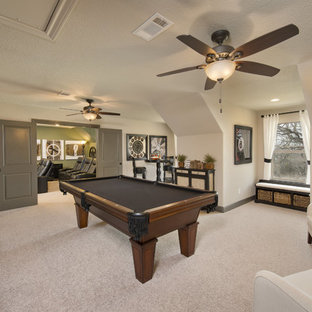 Inspiration for a mid-sized timeless enclosed carpeted and gray floor game room remodel in Houston with white walls, no fireplace and no tv