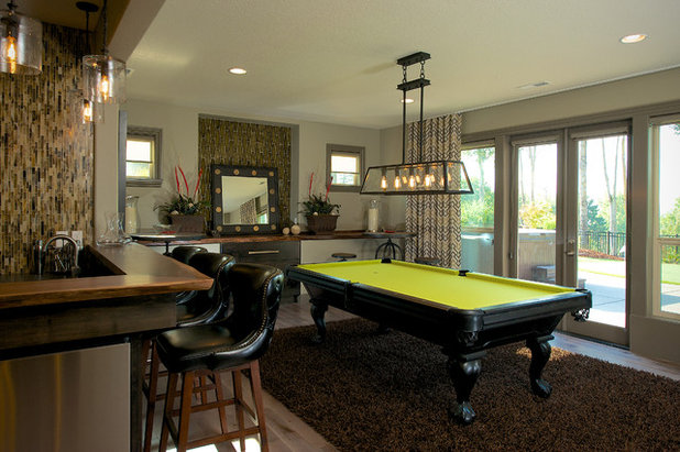 Transitional Family Room by Urban I.D. Interior Design Services