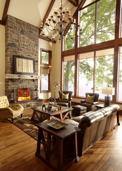 Rustic Family Room by Parkyn Design