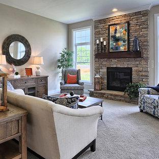 Idée de décoration pour une salle de séjour craftsman ouverte et de taille moyenne avec moquette, une cheminée standard, un manteau de cheminée en pierre, un mur beige, aucun téléviseur et un sol beige.