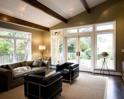 Elegant dark wood floor family room photo in Seattle with beige walls & Wire Track Lighting | Houzz azcodes.com