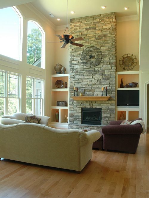 2 story fireplace home design ideas pictures remodel and decor - Expansive large glass windows living room pros cons ...