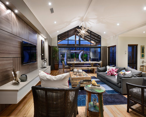 inspiration for a large open concept medium tone wood floor family room remodel in perth