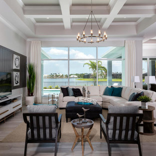 Family room - beach style open concept beige floor family room idea in Miami with white & 50 Best Family Room Pictures - Family Room Design Ideas - Decorating ...