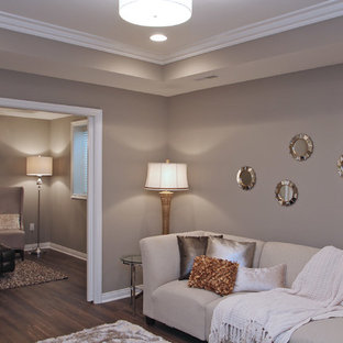 Example of a small transitional open concept family room design in Cedar Rapids with gray walls and a wall-mounted tv