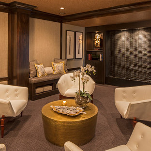 Inspiration for an asian carpeted family room remodel in New York with beige walls