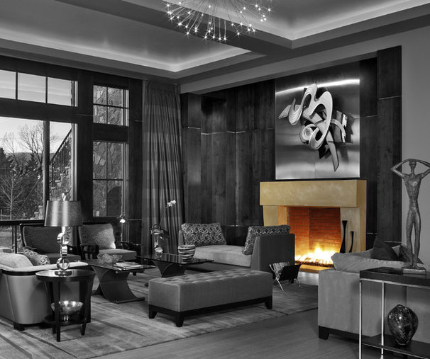 Modern Family Room by Distinctive Mantel Designs, Inc