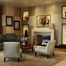 Contemporary Family Room by Distinctive Mantel Designs, Inc