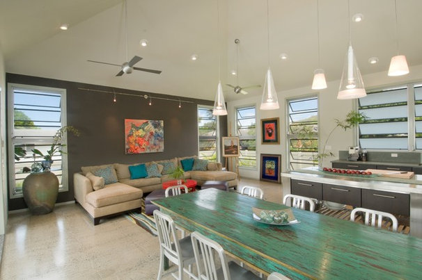 Tropical Family Room by Archipelago Hawaii Luxury Home Designs