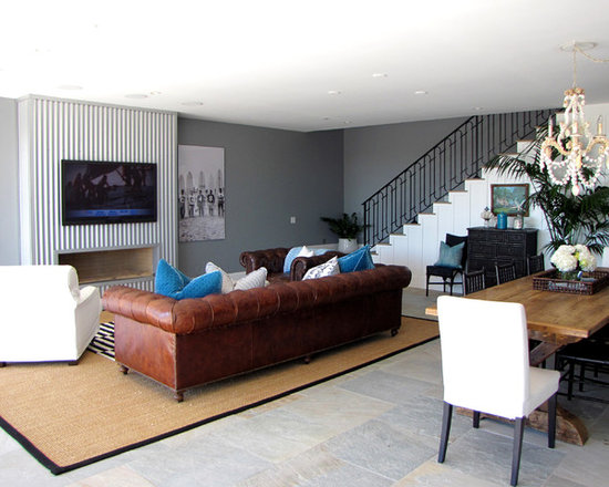 Living Room Furniture With Gray Walls brown couch gray walls   houzz