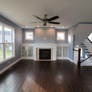 セントルイスの中サイズのおしゃれなファミリールーム (青い壁、濃色無垢フローリング、標準型暖炉、漆喰の暖炉まわり) の写真