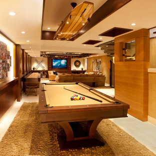 Inspiration for a contemporary game room remodel in Los Angeles with beige walls