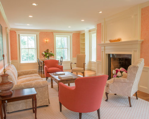 Peach living room houzz for Blue and peach bedroom ideas