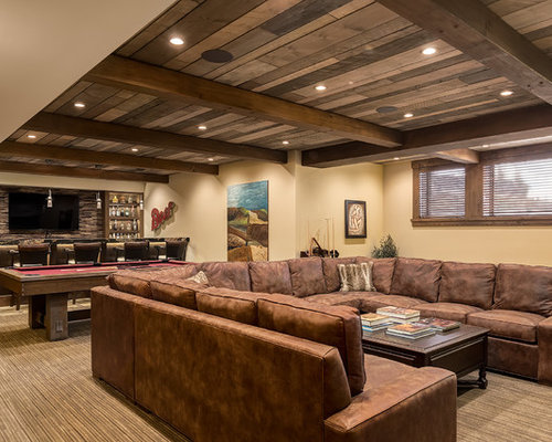 Example Of A Large Arts And Crafts Galley Slate Floor Seated Home Bar Design  In Calgary Part 93