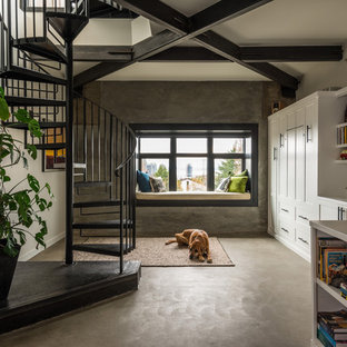 Example Of A Mid Sized Urban Open Concept Concrete Floor And Gray Family Room