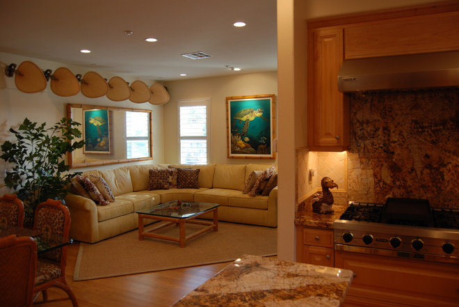 Tropical Family Room by Zach Cole Design