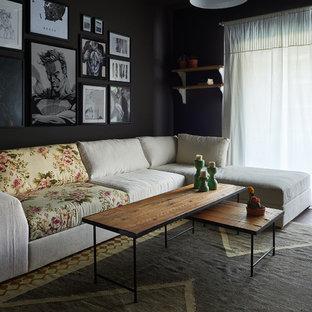 Diseño de sala de estar cerrada, minimalista, pequeña, sin televisor, con paredes negras