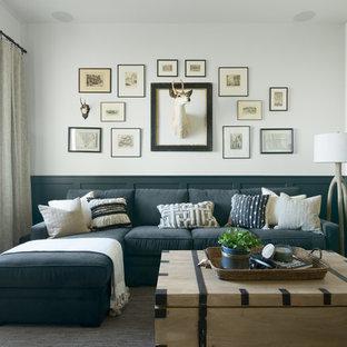 ボイシのビーチスタイルのおしゃれな独立型ファミリールーム (白い壁、カーペット敷き、グレーの床) の写真