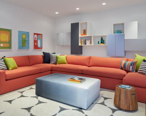 Example Of A Trendy Family Room Design In San Francisco With White Walls