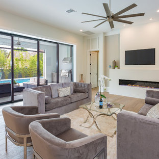Family Room Transitional Light Wood Floor And Beige Idea In Orlando With