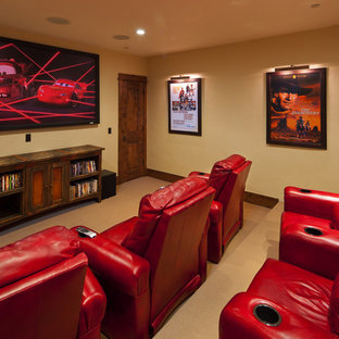Game room - huge rustic open concept carpeted game room idea in Other with beige walls, no fireplace and a media wall