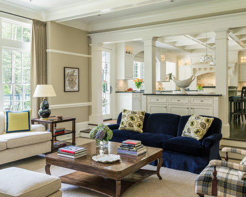 Large Traditional Open Concept Family Room Idea In Boston With Beige Walls  And Carpet