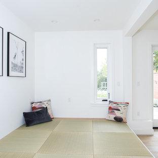 Ispirazione per un piccolo soggiorno contemporaneo aperto con pareti bianche, pavimento in tatami, nessun camino e pavimento verde