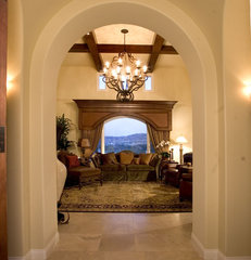 mediterranean family room by Todd Peddicord Designs