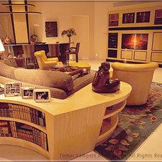 Transitional Family Room by Tomar Lampert Associates