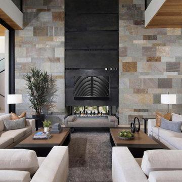 Tonal Harmony Great Room Fireplace View