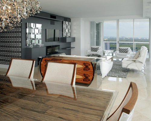 Family Room Design Ideas, Remodels & Photos with a Hanging Fireplace and a Wall-Mounted TV | Houzz